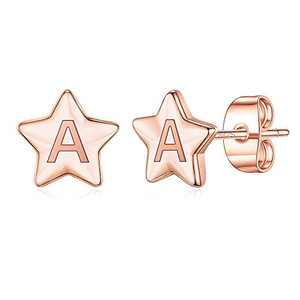 Star Initial Stud Earrings for Girls, S925 Sterling Silver Post Rose Gold Plated Letter A Initial Star Earrings Cute Hypoallergenic Earrings for Girls Women Toddler Girls Gifts