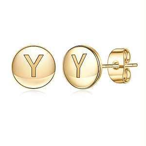 Initial Stud Earrings for Girls Women, S925 Sterling Silver Post 14K Gold Plated Hypoallergenic Sensitive Girls Earrings Cute Alphabet Y Letter Stud Earrings for Toddler Kids