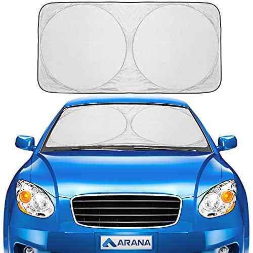"""Car Windshield Sun Shade Foldable Retractable Sun Shield Front Window Sunshades Blocks 99% UV Rays Sun Heat, Classic Size 59""""×29"""""""