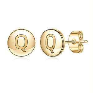 Initial Stud Earrings for Girls Kids, S925 Sterling Silver Post 14K Gold Plated Girls Earrings Hypoallergenic Cute Letter Q Initial Earrings for Girls Kids Earrings Sensitive Kids Earrings