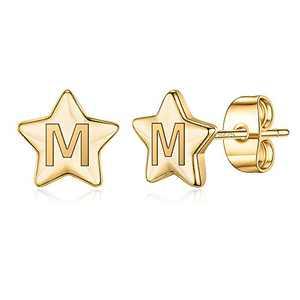 Gold Initial Earrings for Girls Women, S925 Sterling Silver Post Gold Star Stud Earrings Letter M Initial Hypoallergenic Earrings Graduation Gifts for Her