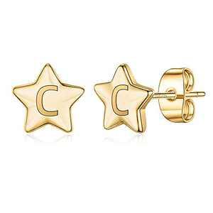 Gold Initial Earrings for Girls, S925 Sterling Silver Post Post Gold Plated Dainty Girls Earrings Hypoallergenic Letter C Initial Kids Earrings for Girls Dainty Star Earrings for Girls