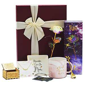 Gifts for Mom - Best Mom Gifts Includes Marble Jewelry Trays,Pink Marble Mug,Hand Crank Engraved Musical Box,Cuff Bangle Bracelets ,Silver plated MOM necklace,Rainbow Rose Flower Present Golden Foil with Luxury Gift Box,Best Wishes Cards Mother's Day Birthday Gift Set