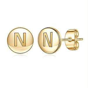 Initial Earrings for Girls, S925 Sterling Silver Post Gold Stud Earrings Cute Letter N Initial Hypoallergenic Earrings for Women Jewelry Gifts Toddler Kids Earrings for Girls