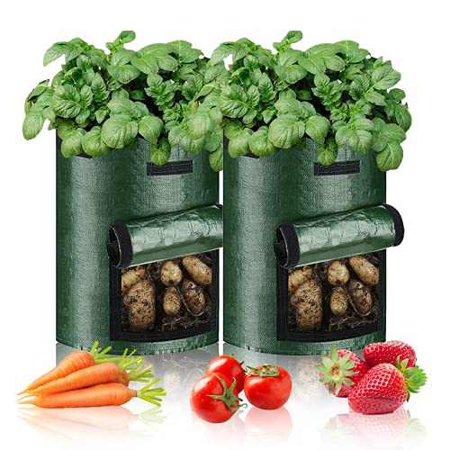 7 Gallon Plant Growing Bags-2 Packs, Plant Grow Pots for Strawberry Potato Tomato Carrot & Other Vegetable, Heavy Duty Thickened Garden Growing Bags with Window and Handles (Dark Green)