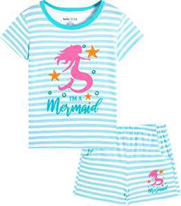 Macool Girls Summer Blue Stripes Clothing Short Sleeves Mermaid Clothes 100% Cotton Clothes Size 6