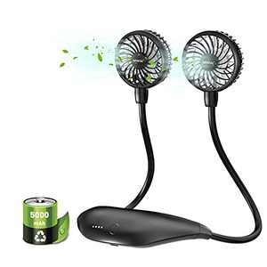 Personal Fans for Your Neck, 5000mAh Battery Operated Neck Fan, Hands-free Personal Cooling Device Wearable, Lasts 26 Hrs, 6 Speeds, Fast Charging, Portable Neck Fan for Sports Travel Camping Office