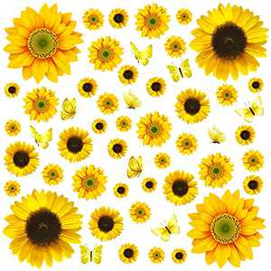 54Pcs Sunflower Wall Stickers Removable 3D Sunflower Decor Mural Self-Adhesive Waterproof Flowers Wall Decals for Living Room Bathroom Bedroom Decoration