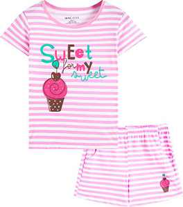 Macool Girls Stripes Summer Clothing Short Sleeves Ice Cream Clothes 100% Cotton Clothes Size 16