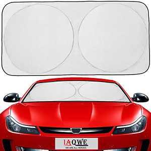 IAQWE Windshield Sun Shade Blocks UV Rays Foldable Sun Visor Shield Sunshade with Automotive Interior Protection for Most Vehicle SUV Truck Pickup, 1 Pack (Medium)