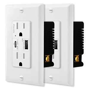 NineLeaf 4.8A USB Quick Charger Wall Outlet,15 Amp Receptacles with USB Type C Type A Ports, 24W PD & QC High Speed Charge, Tamper Resistant Socket,White Wall Plate Included, UL Listed, 2 Pack