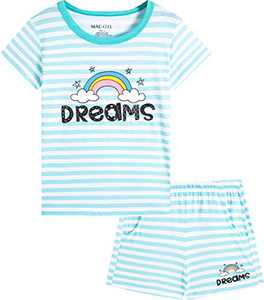 Macool Girls Summer Stripes Rainbow Clothing Short Sleeves Clothes 100% Cotton Clothes Size 14
