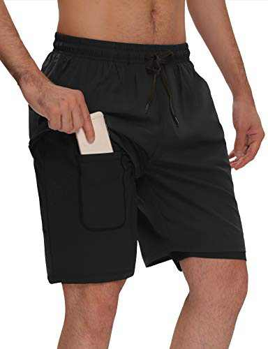 """Agnes Urban Men's 7"""" Shorts 2 in 1 Quick Dry Running Basketball Gym Athletic Workout Shorts with Phone Pockets Black XXL"""