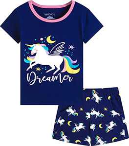 Macool Girls Unicorns Short Sleeves Clothing Summer Clothes 100% Cotton Clothes Size 12