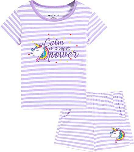 Macool Girls Short Sleeves Unicorns Stripes Clothes Summer Clothing 100% Cotton Clothes Size 14