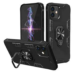 Fansteck Compatible with iPhone 12 and iPhone 12 Pro Case with Stand Magnetic Ring Kickstand Bumper Shockproof Armor Heavy Duty Military Grade Hard Phone Protective Case (Black)