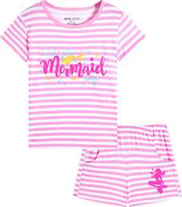 Macool Girls Summer Pink Stripes Clothing Short Sleeves Mermaid Clothes 100% Cotton Clothes Size 6