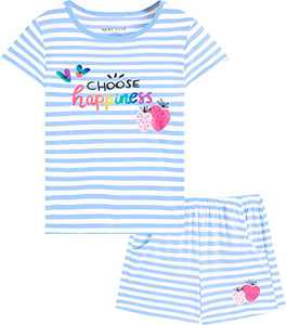 Macool Girls Summer Stripes Strawberry Clothing Short Sleeves Clothes 100% Cotton Clothes Size 6