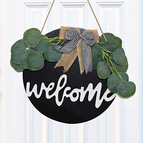 Welcome Wreath Front Door Wreath - 12 Inch Artificial Eucalyptus Wreath Farmhouse Front Porch Decor Rustic Door Hangers with Wooden Welcome Sign Housewarming Gift for Home Decoration Restaurant