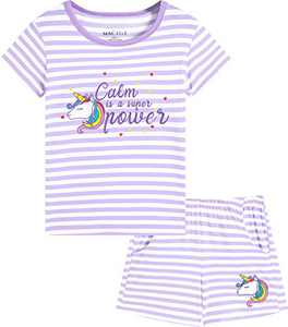 Macool Girls Short Sleeves Unicorns Stripes Clothes Summer Clothing 100% Cotton Clothes Size 5