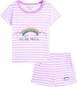 Macool Girls Summer Clothing Rainbow Stripes Short Sleeves 100% Cotton Clothes Size 8