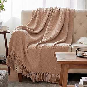 Bedsure Throw Blanket for Couch - Beige Knit Woven Chenille Blanket for Chair, 50 x 60 Inch Super Soft Warm Decorative Blanket with Tassels for Bed, Sofa and Living Room