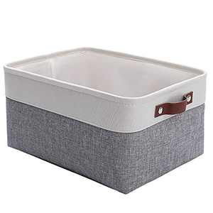 FrogWow Large Fabric Storage Baskets Toy Boxes, Decorative Baskets with Leather Handles, Collapsible Baskets for Organizing, Storage Basket for Shelves, Toys, Clothes, Office (Grey/White, 1 Pack)