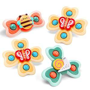 CUTE STONE Suction Cup Spinning Top Spinner Toy for Toddlers, Baby Bath Toy, Gifts for 3 Year Old Girls and Boys