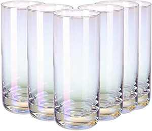 RORA Colorful Highball Drinking Glasses Heavy Base Tall Bar Glass Set of 6, for Water, Juice, Beer, Wine, Whiskey, and Cocktails