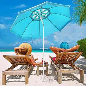 Funsite 6.5ft Beach Umbrella with Sand Anchor, Beach Umbrellas for Sand Heavy Duty Wind, Portable UV 50+ Protection with Tilt & Aluminum Pole, Umbrella Beach with Carry Bag