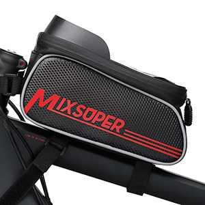 "Mixsuper Waterproof Bike Top Tube Bag, Bike Phone Front Frame Bag Compatible with Phone Under 6.7"""