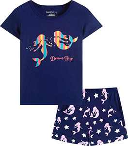 Macool Girls Short Sleeves Mermaid Clothes Summer Clothing 100% Cotton Clothes Size 5