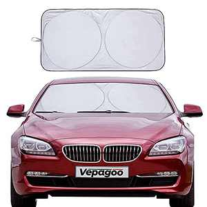 Veapgoo Car Windshield Sun Shade Window Cover Shade Interior Sun Protection 64inX32in, UV Rays and Sun Heat Protector, Keep The Car Interiors Cool, Prevents Dashboard Fade and Crack.