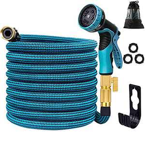 """Expandable Garden Hose 100FT, Expanding Water Hose with 10 Function Nozzle, Durable 3-Layers Latex, Extra Strength 3750D Flexible Hose with 3/4"""" Solid Brass Fittings, No Kink Water Spray Nozzle Hoses"""