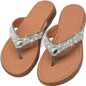 Glitter Sparkle Flip Flops Rhinestones Glitter Slides For Women Dressy Summer Bling Crystal Diamond Sandals Sliver Women Size 6