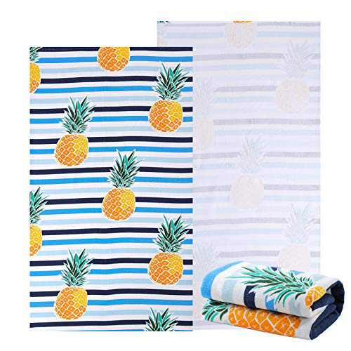 """NovForth Microfiber Beach Towel for Women, Outdoors Pool Beach Towels for Gril, Oversized Classic Towels Pineapple 30""""x 61"""", Cabana Stripe Quick Dry Absorbent (Blue 30"""" x 61"""", 30"""" x 61"""")"""