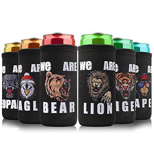 Slim Can Cooler Sleeves (6 Pack) for 12oz Skinny Can Coolers Soft Insulated Beer Can Cooler Sleeves Thick Neoprene Can Sleeves for Soda, Party Essentials Funny Xmas Gag Gifts