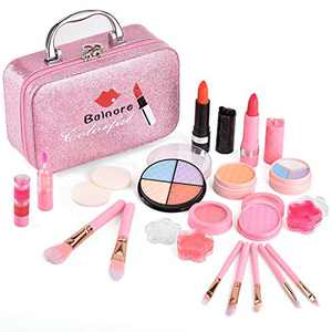 balnore 21 PCS Washable Makeup Toy Set,Washable Cosmetics with Box for Party Game Easter,Mother's Day Birthday