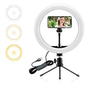 """Selfie Ring Light 10"""" with Tripod Stand and Phone Holder Portable Desk Makeup LED Ring Light with 3 Lighting Colors and 10 Brightness for Photography/Makeup/Video/Live Streaming"""