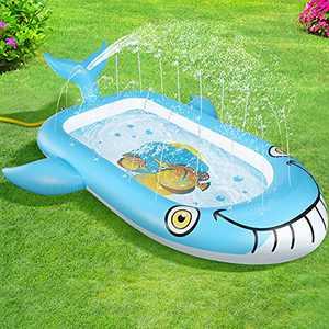 "OOWOLF Inflatable Splash Pad Sprinkler Pool, 2021 New Whale Design Swimming Pool Boys Girls Splash Play Mat Summer Outdoor Water Toy Wading Pool Children's Gift, 70""x 38"""