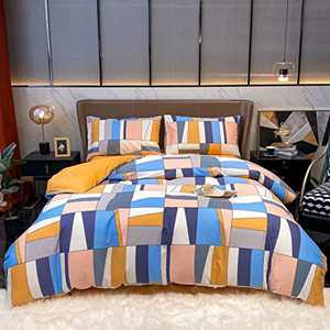 Wellboo Colorful Geometric Comforters Boho Blue Pink and Gray Splicing Plaid Bedding Sets Queen Women Girls Adult Modern Patchwork Blocks Dorm Quilts Oil Painting Ginger Yellow Soft Health Durable
