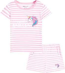 Macool Girls Summer Clothing Unicorns Short Sleeves 100% Cotton Stripes Clothes Size 5