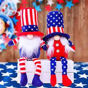 2 Pcs American Gnome Patriotic Decorations 4th of July Gnome Ornaments for Veterans Day Memorial Day Labor Day National Day (Style-A)