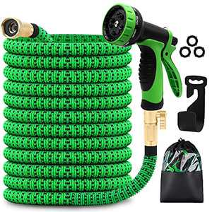 MYDAYS Garden Hose with 8 Function Nozzle, Lightweight Expandable Garden Hose, No-Kink Flexibility, 3/4 Inch Solid Brass Fittings and Double Latex Core (Green, 50FT)