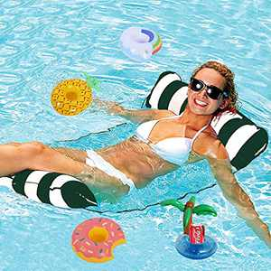 Water Hammock Inflatable Pool Floats with 4Pcs Inflatable Drink Holders, Portable Water Pool Hammock Drifter Saddle Lounger Chair Drink Floats Inflatable Cup for Adults/ Kids Multi-Purpose Pool Toys