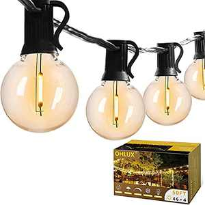 OHLUX 50FT Dimmable Globe String Lights with 50 G40 Shatterproof Edison LED Bulbs(4 Spare), Waterproof Outdoor Hanging Strand Lights for Cafe, Patio, Backyard, Garden Decor