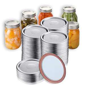 100 Pcs Regular Mouth Canning Lids for Mason Jars Split-Type Jar Lids Leak Proof and Secure Canning Caps with Silicone Seals (Silver)