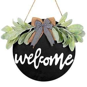Wood Welcome Sign for Front Door Porch Decor Farm House - Farmhouse Welcome Wreaths for Front Door Decorations Rustic Door Hangers