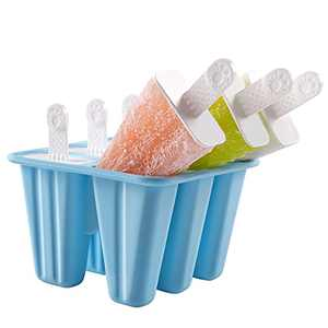 DOQAUS Popsicle Molds with Sticks, Silicone Popsicle Molds Easy Release, Reusable Ice Pop Molds with Popsicles Recipe, Dishwasher Safe, LFGB Certified & BPA Free, Set of 6 Ice Cream Molds for Kid DIY