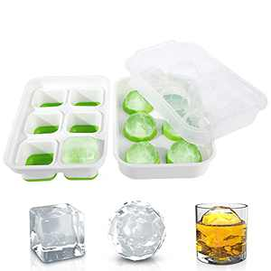 DOQAUS Ice Cube Trays Set of 2 [2021 Updated] Sphere Ice Ball Maker & Large Square Ice Trays with Removable Lids for Whiskey, Cocktails, Freezer, Stackable, Easy Release & Reusable Ice Trays, BPA Free